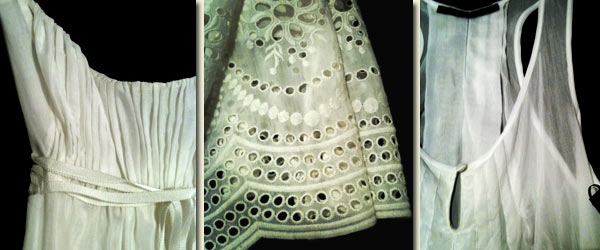 Helen Sanchez eyelet embroidery details on silk/cotton voile