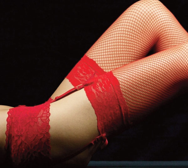 Red fishnet stockings and garter belt on Lingerie Briefs