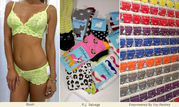 Colorful lingerie by Blush, fun socks from PJ Salvage and panties by Empowered by You at CurveNY Aug 2013