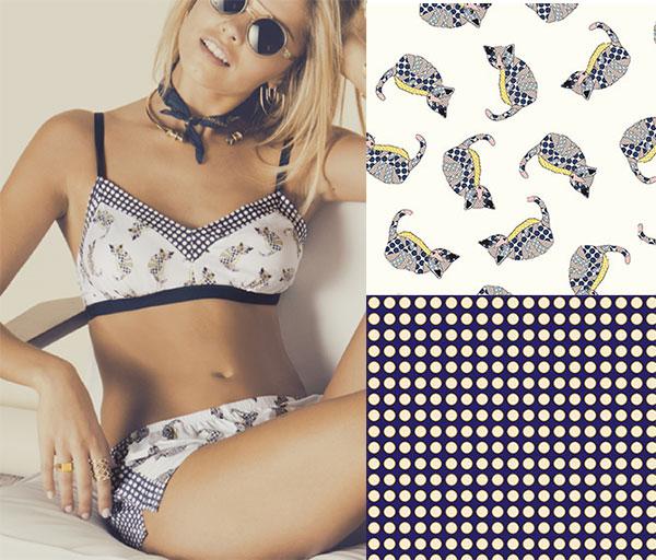 Paul + Joe + Cosabella printed lingerie on Lingerie Briefs
