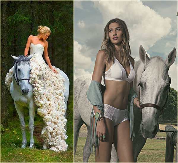 Leila Hafzi on white horse and Cosabella Arizona bra and panty on Lingerie Briefs