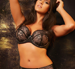 Curvy Couture ~ Seduction Lace Demi and Lace Boyshort in Rose Pink