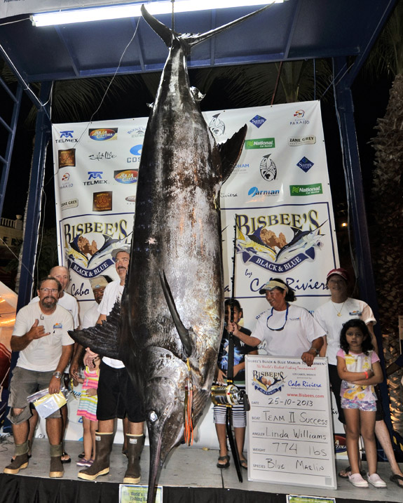 Linda Success winning catch at the 2013 Bisbee Black and Blue in Los Cabos on Lingerie Briefs