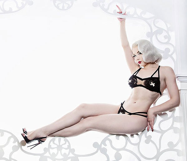 Miss Mosh in Dotties Delights Vintage Inspired Lingerie on Lingerie Briefs