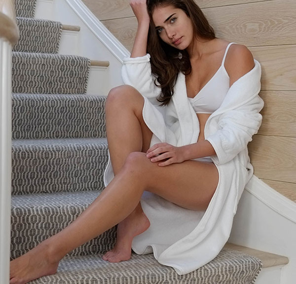 Naked brand's Luxury Spa Robe on Lingerie Briefs