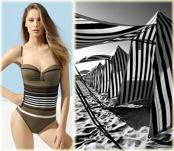 Lou Hayres swim maillot and striped beach tents on Lingerie Briefs