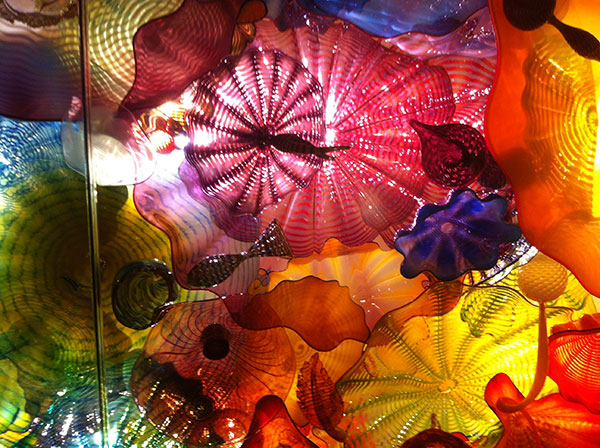 Detail of Chihuly glass ceiling installation on Lingerie Briefs