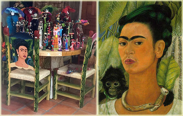 Items at the La Coyota store in Cabo San Lucas and painting by Frida Kahlo on Lingerie Briefs