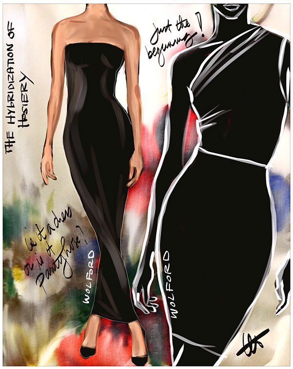 Wolford tube dressing sketched by Tina Wilson on Lingerie Briefs