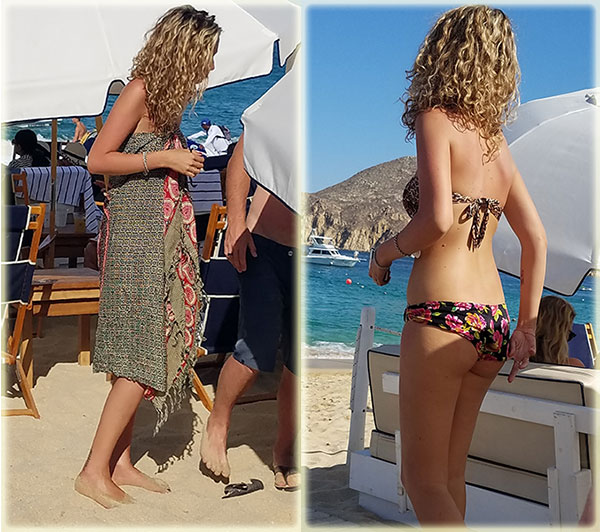 Pareo and Swimsuit at Sur Beach House in Cabo on Lingerie Briefs