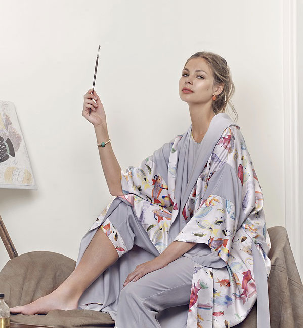 Rose Fulbright Hand-Painted Silk Loungewear and Beachwear on Lingerie Briefs