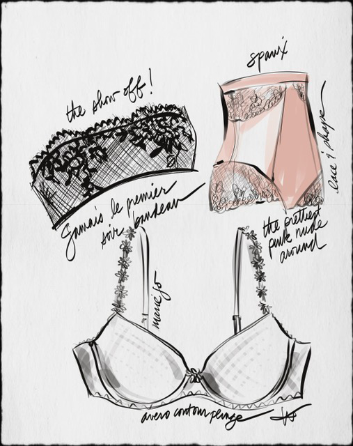 Tina Wilson Fashion illustration of Spanx on Lingerie Briefs