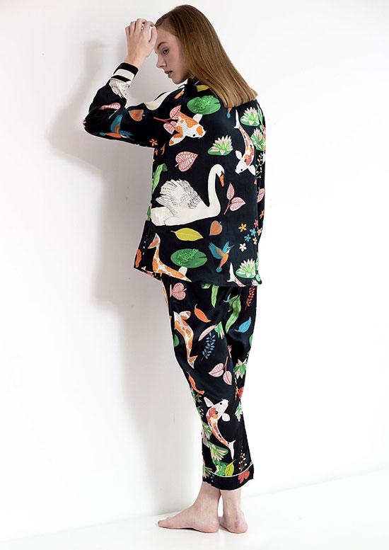 Karen Mabon Silk Print Pajamas on Lingerie Briefs