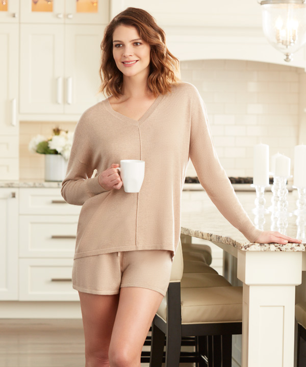 Cashmere Bliss by Fleur't V-Neck Sweater and Cozy Shorts