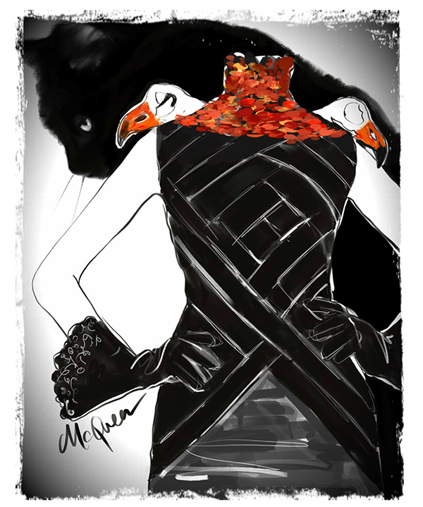 Fashion Illustrations by Tina Wilson for Halloween: Alexander Mcqueen on Lingerie Briefs