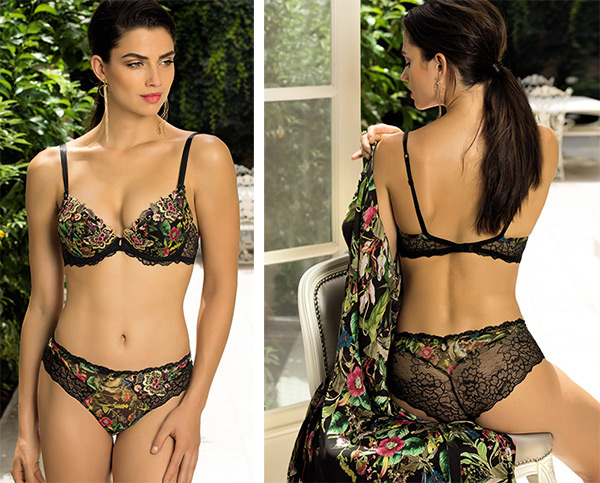 Fleurs de Jungle bra, panty and robe by Lise Charmel on Lingerie Briefs