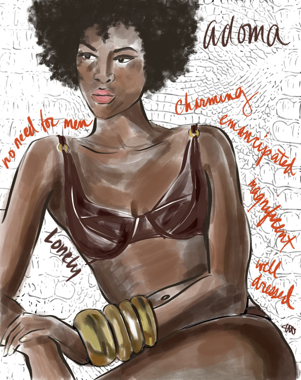 Illustration by Tina Wilson of Goddess Adoma wearing Lonely bra