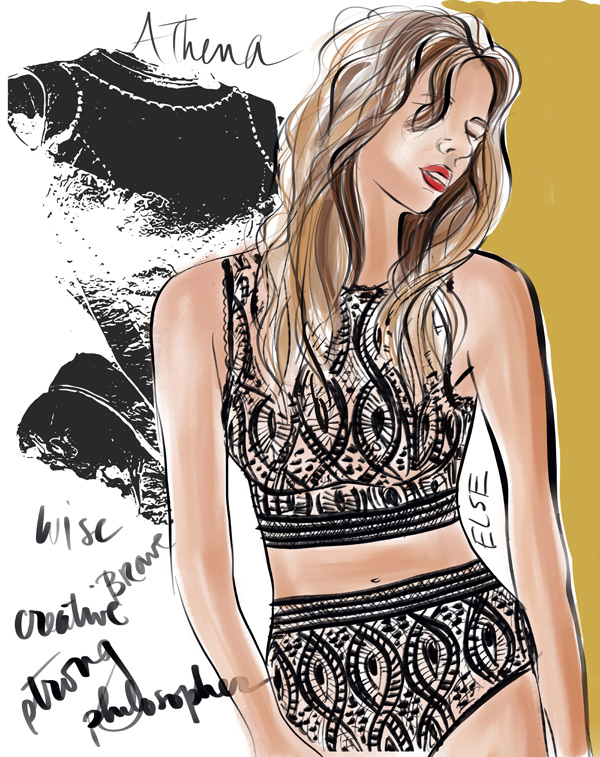 Goddess Athena illustration by Tina Wilson wearing Else lingerie