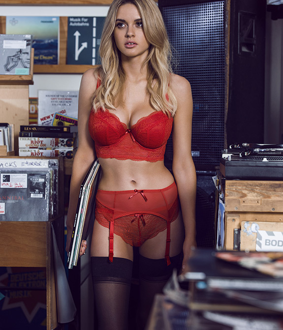 Freya Fancies Red long line bra on Lingerie Briefs