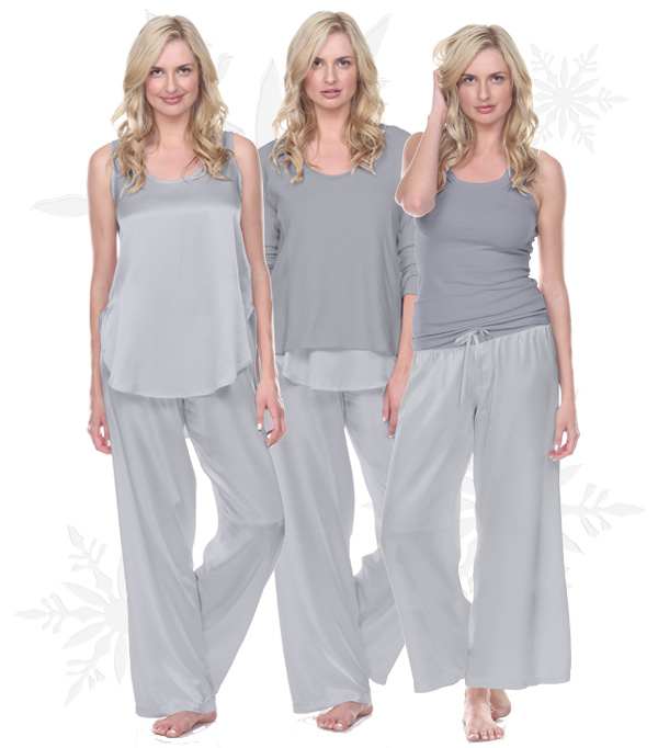 Silver Lounge PJ Harlow Charlie Racerback Tank, Jackie Satin Hi-Low Cami and Frankie Rib Long Sleeve V-Neck With Side Slits