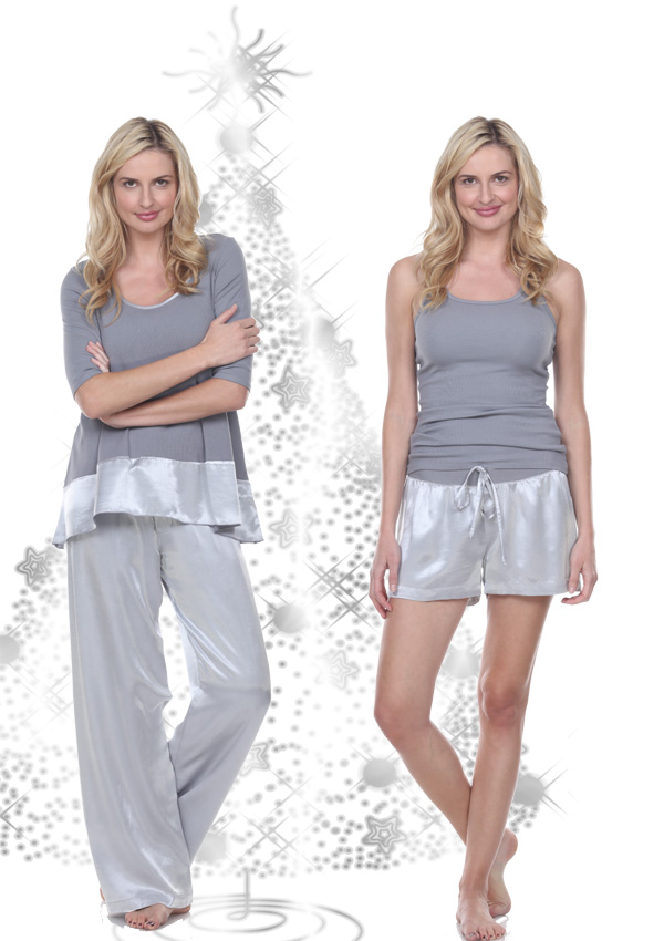 Silver Lounge KIKI Knit swing top and satin Jolie pants or boxers by PJ Harlow