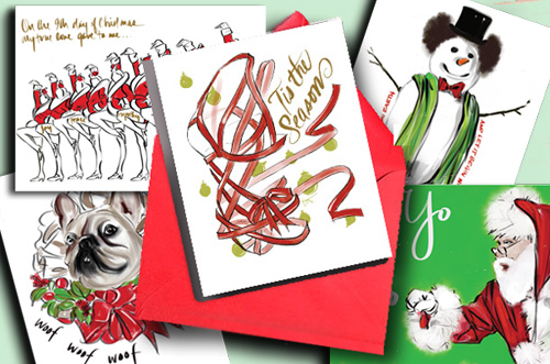 Exclusive Holiday Cards Illustrated by Tina Wilson on Lingerie Briefs
