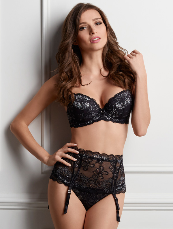 Sophia Lace by Le Mystere - bra and garter in onyx