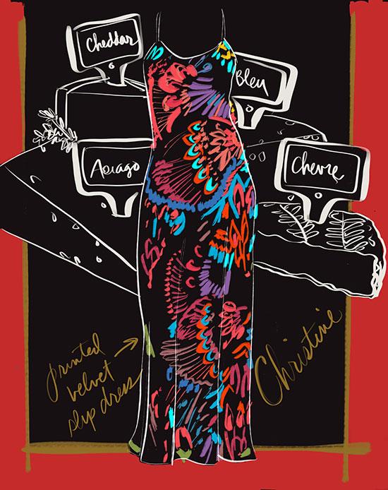 Christine Gatsby Velvet slip dress illustrated by Tina M Wilson on Lingerie Briefs