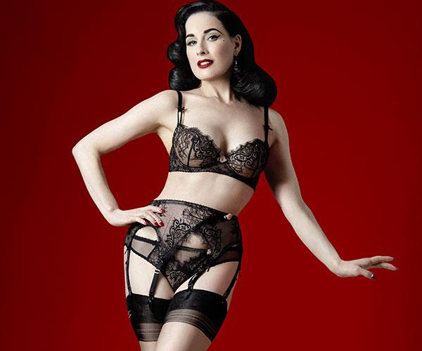Dita Von Teese wearing Dita Von Teese Madame X lingerie on Lingerie Briefs