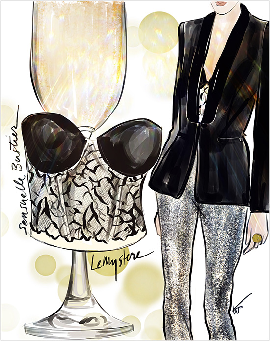 Tina M. Wilson Fashion Illustrations on Lingerie Briefs
