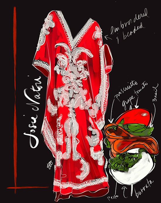 Natori Red Couture Samorcan Caftan illustrated by Tina M Wilson on Lingerie Briefs