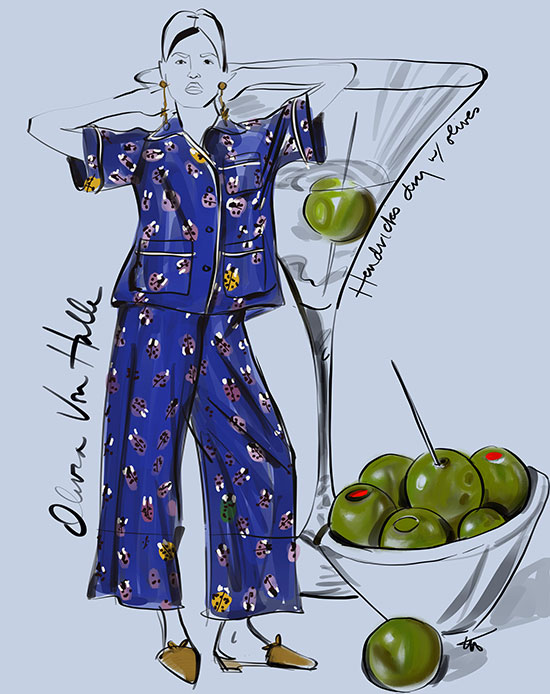 Olivia Van Halle Daria Wendy Silk Shirt and Wide Leg Trouser Set, illustrated by Tina M Wilson on Lingerie Briefs