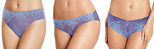 Wacoal Embrace Lace hi-cut brief, bikini, and tanga