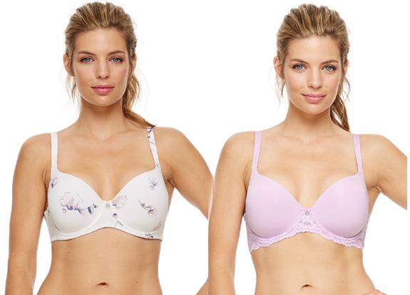 Montelle Pure Plus Full Coverage T-shirt bra in Fashion Colors: Magnolia Blooms & Wisteria