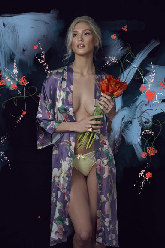 Samantha Chang silk kimono and Simone Perele Panties photographed for The Rites of Spring by Stephanie Hynes for Lingerie Briefs