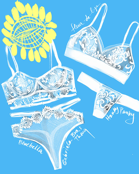 Blubella Gabriela & Hanky Panky fleur de lys bridal lingerie illustrated by Tina Wilson on Lingerie Briefs