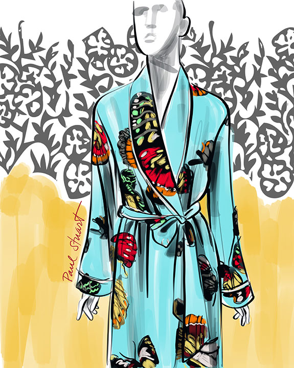 Paul Stuart Silk Robes illustrated by Tina M Wilson on Lingerie Briefs: Color My Mood