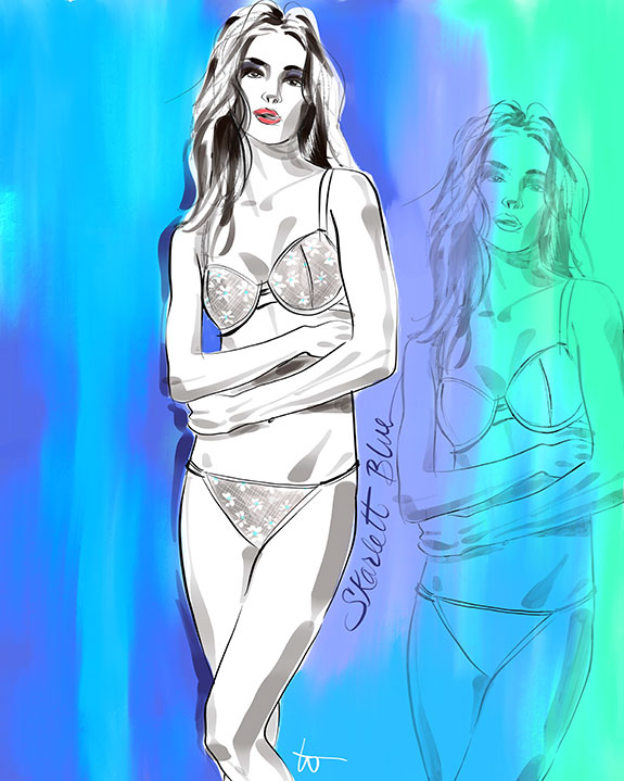 Skarlett Blue Margarite bra and panty illustrated by Tina Wilson on Lingerie Briefs