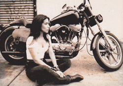Helen Sanchez with her Harley