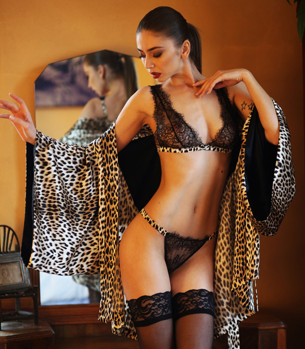 Leopard silk Kimono designed by Helen Sánchez (seen on Lingerie Briefs)