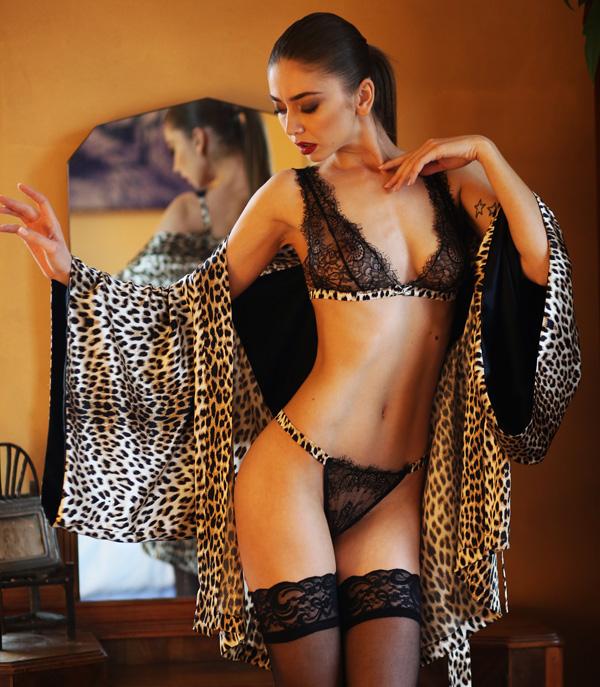 Leopard silk Kimono designed by Helen Sánchez (seen on Lingerie Briefs)