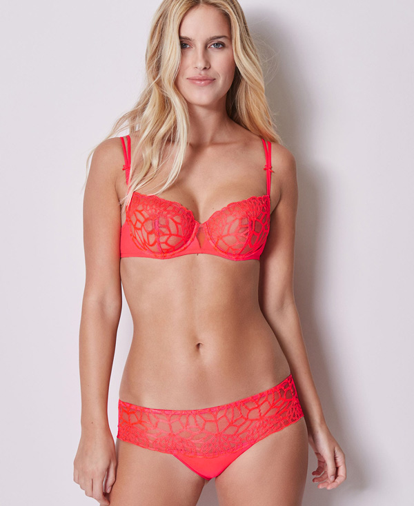 Simone Perele New Java Demi and Boyshort in fashion color Ignite - seen on Lingerie Briefs