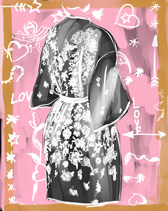 Rya Collection short wrap robe illustrated by Tina Wilson for Lingerie Briefs
