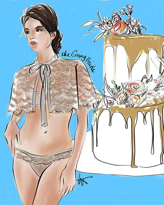 The Giving Bride bridal capelet illustrated by Tina Wilson for Lingerie Briefs