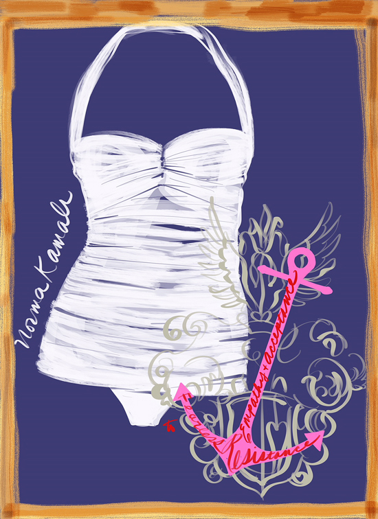 Norma Kamali Swimwear illustrated by Tina Wilson for Lingerie Briefs
