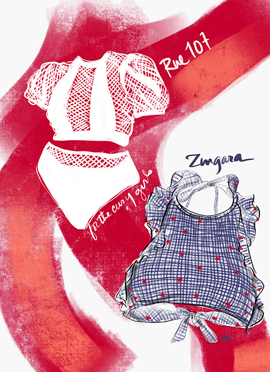 Rue 107 & Zingara Swimwear illustrated by Tina Wilson for Lingerie Briefs
