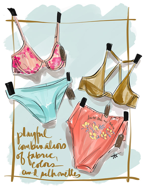 Fashion Illustrations by Tina Wilson for Lingerie Briefs