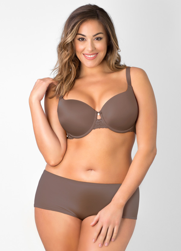 Curvy Couture Lace Shine T-shirt Bra in Taupe featured on Lingerie Briefs