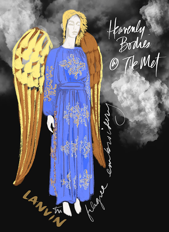 Fashion Illustration of Heavenly Bodies at the Met by Tina Wilson (image Lanvin) for Lingerie Briefs