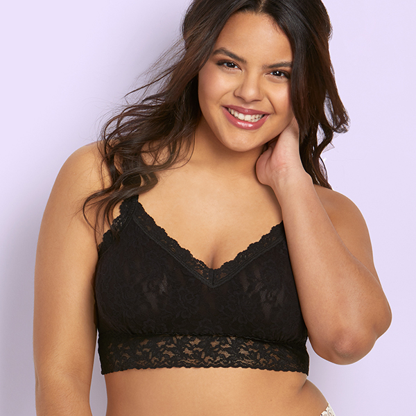 Hanky Panky Plus size lined lace bralette on Lingerie Briefs